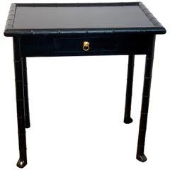 Robsjohn- Gibbings Style Black Lacquered Faux Bamboo Table