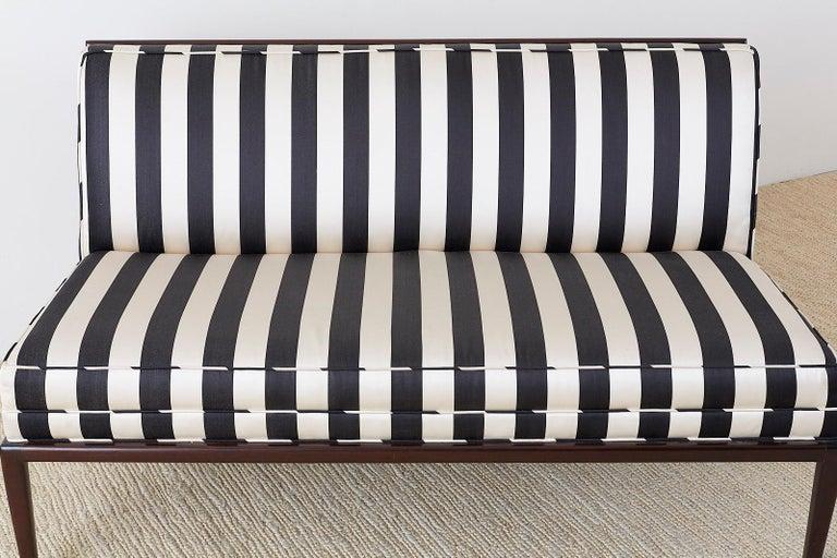 Fabric Robsjohn Gibbings Style Mahogany Open Arm Settee For Sale