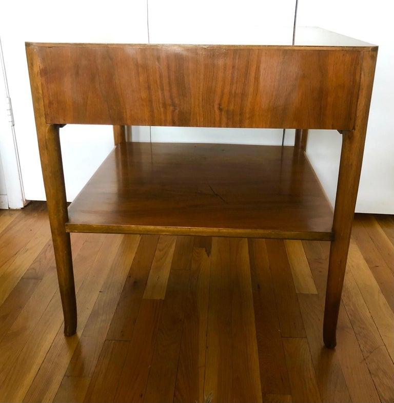 Robsjohn-Gibbings Walnut Side Tables w/ Gilt Porcelain Pulls For Sale 3
