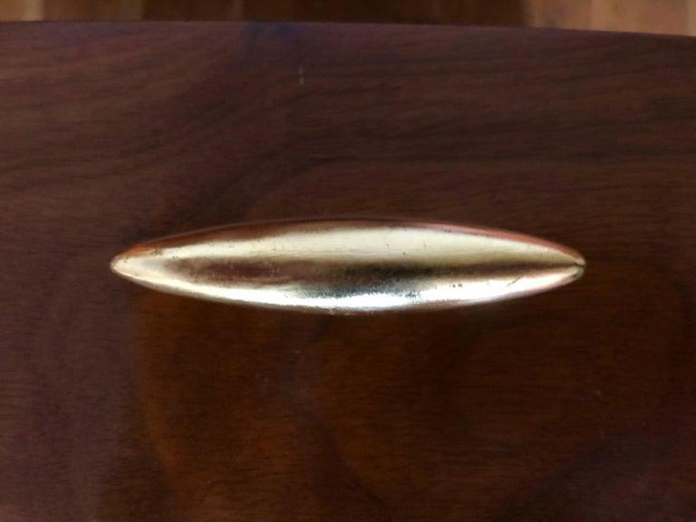Robsjohn-Gibbings Walnut Side Tables w/ Gilt Porcelain Pulls For Sale 1