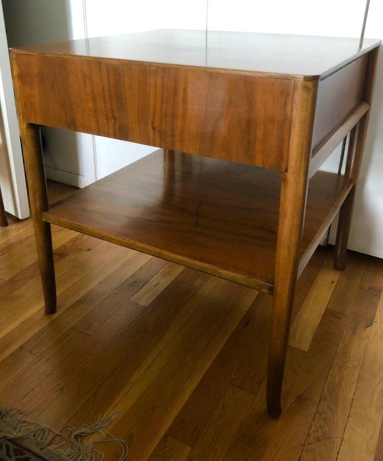 Robsjohn-Gibbings Walnut Side Tables w/ Gilt Porcelain Pulls For Sale 2