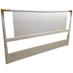Robsjohn-Gibbings Widdicomb White Lacquered Wood w/ Brass Accents Full Headboard