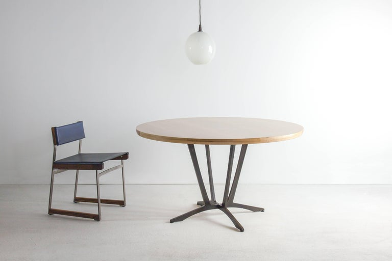 Robson Dining Table, American Hardwood and Steel In New Condition For Sale In Brooklyn, NY