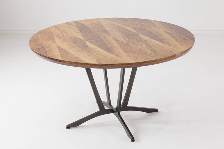 Contemporary Robson Dining Table, American Hardwood and Steel For Sale