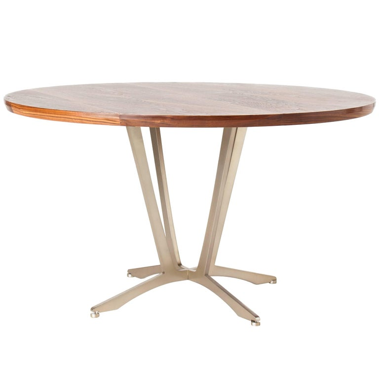 Robson Dining Table, American Hardwood and Steel For Sale