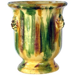 Robust French Anduze Style Yellow, Green and Brown Drip-Glazed Garden Pot