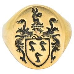Robust Victorian 14 Karat Gold Crane Heraldry Unisex Signet Ring