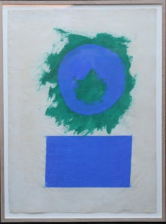 Blue and Green Forms - British 50's abstract art oil painting paper colourfield