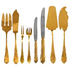 Rocaille Gilded Flatware Called Bien Aimée 168 PCS Chambly Mid 20th