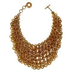 Rocco Barocco Gold Link 1980s Bib Necklace