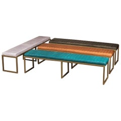 Rocco Leather Dining Bench, 20th Century