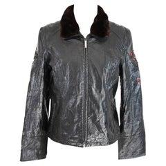 Roccobarocco Black Fur Faux Leather Biker Jacket