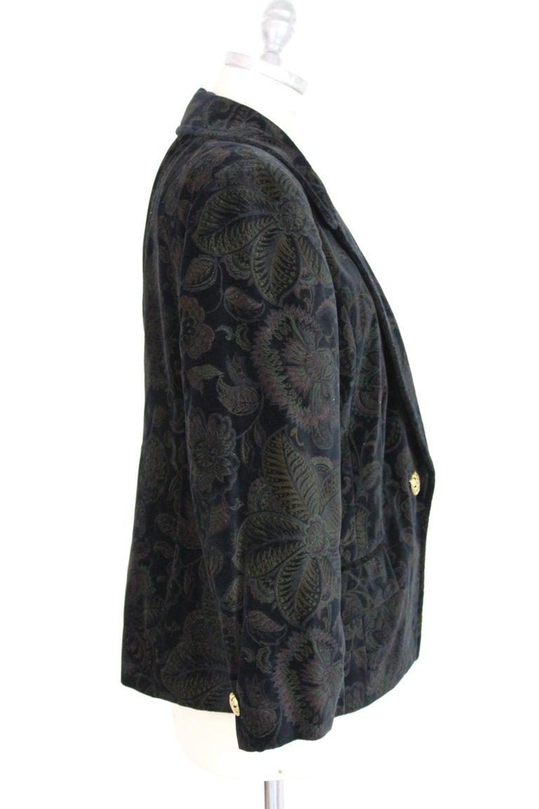 Roccobarocco Black Green Velvet Cotton Damask Floral Elegant Jacket  In Excellent Condition For Sale In Brindisi, Bt