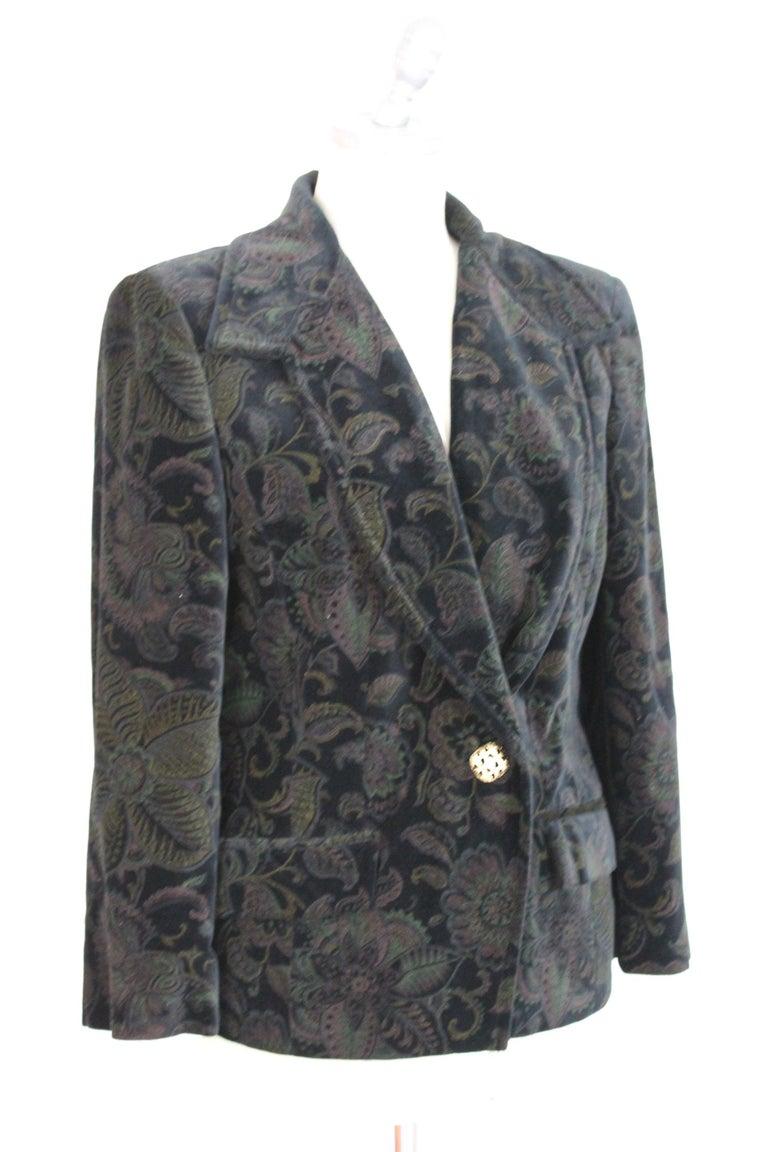 Women's Roccobarocco Black Green Velvet Cotton Damask Floral Elegant Jacket  For Sale