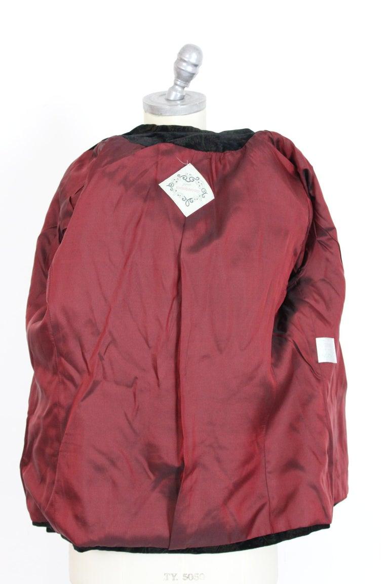 Roccobarocco Black Green Velvet Cotton Damask Floral Elegant Jacket  For Sale 1