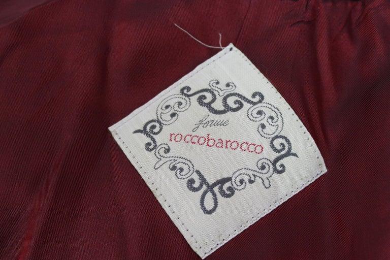 Roccobarocco Black Green Velvet Cotton Damask Floral Elegant Jacket  For Sale 2