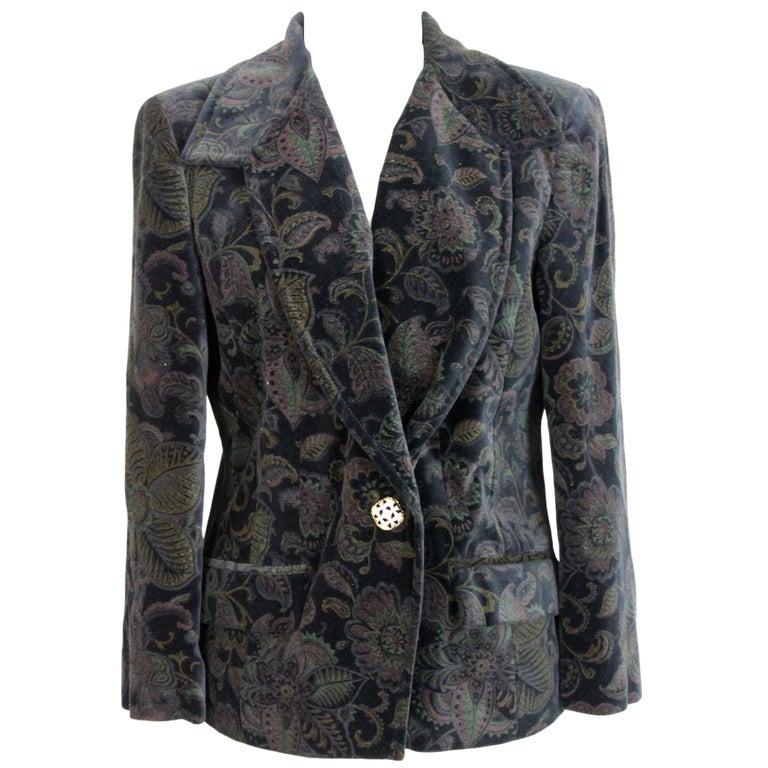 Roccobarocco Black Green Velvet Cotton Damask Floral Elegant Jacket  For Sale