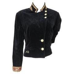 Roccobarocco Black vintage velvet gold buttons jacket