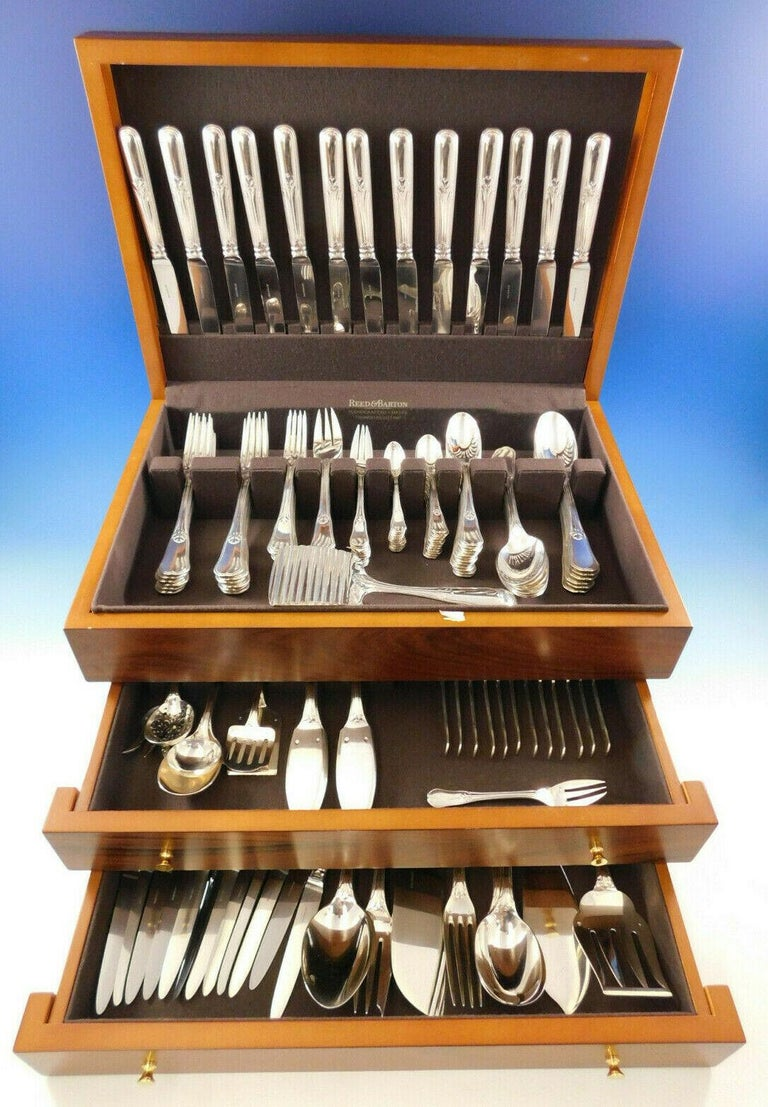 Superb Rochambeau by Puiforcat France 950 silver flatware set with delicate thread and leaf detailing, 159 pieces. This incredible set includes:  12 dinner size knives, w/pointed stainless blades, 9 3/4