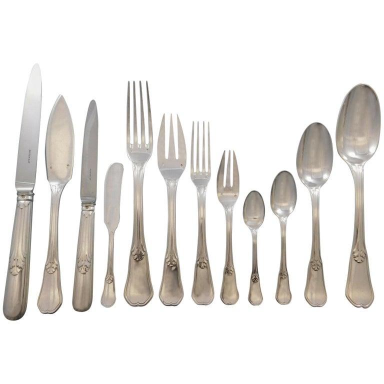 Rochambeau by Puiforcat France 950 Silver Flatware Set Service Dinner 159 Pc For Sale
