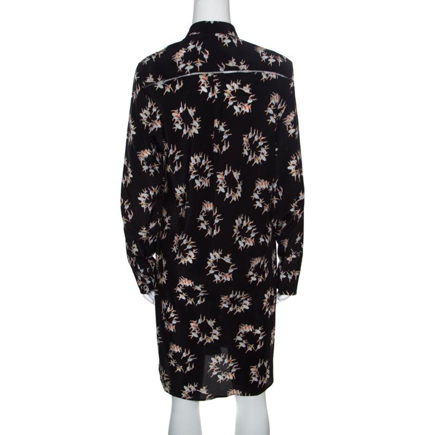 Rochas Black Ballerina Printed Silk Long Sleeve Shirt Dress L For