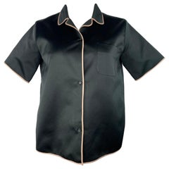 Rochas Black Short Sleeves Button Down Blouse Shirt Top, Size 42