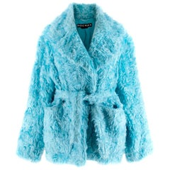Rochas Blue Faux Fur Belted Coat US6