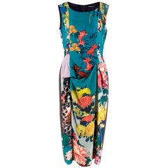 Rochas Blue Floral Jacquard Draped Dress XL 48 IT