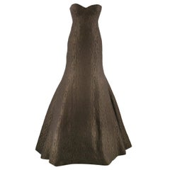Rochas Chocolate Brown & Green Wool & Silk Jacquard Fishtail Gown US 4