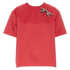 ROCHAS dragonfly crystal embellished red polyester short sleeve boxy top IT38 XS