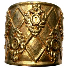 Rochas Gold Tone Cuff Bracelet