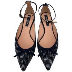 Rochas Paris Satin Grain and Black Pointed Toe Flats, Size 38.5