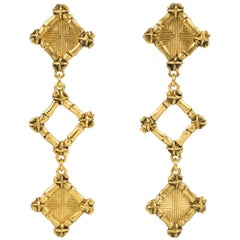 Rochas Paris Gilt Metal Dangle Clip Earrings