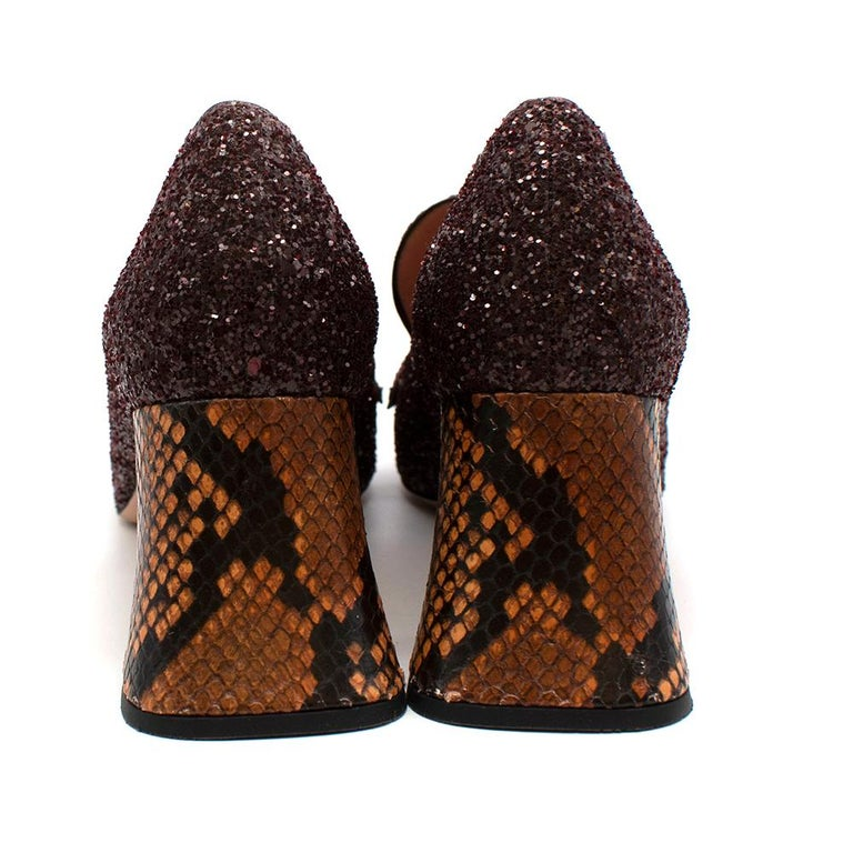 Rochas Purple Glitter Snakeskin Block Heeled Pumps 38 In Excellent Condition For Sale In London, GB