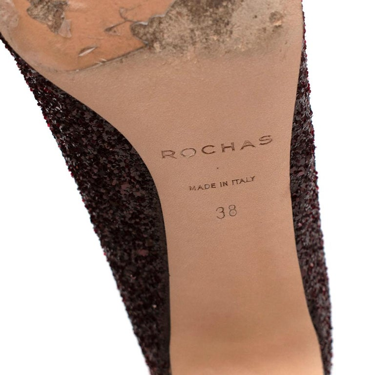 Rochas Purple Glitter Snakeskin Block Heeled Pumps 38 For Sale 4