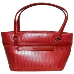 Rochas Red Brick Color Embossed Top Handle Tote Bag