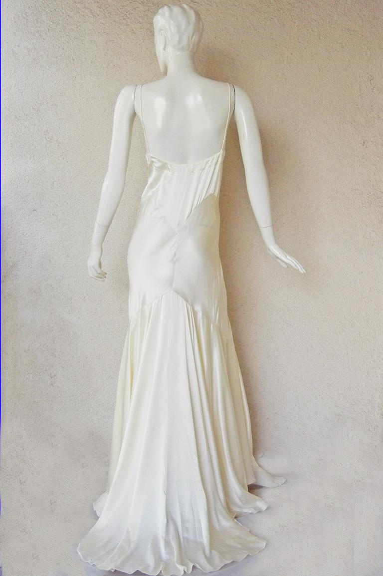 Gray Rochas Runway 30's Inspired Harlowesque Old Hollywood Satin Bias Cut Gown  NWT For Sale