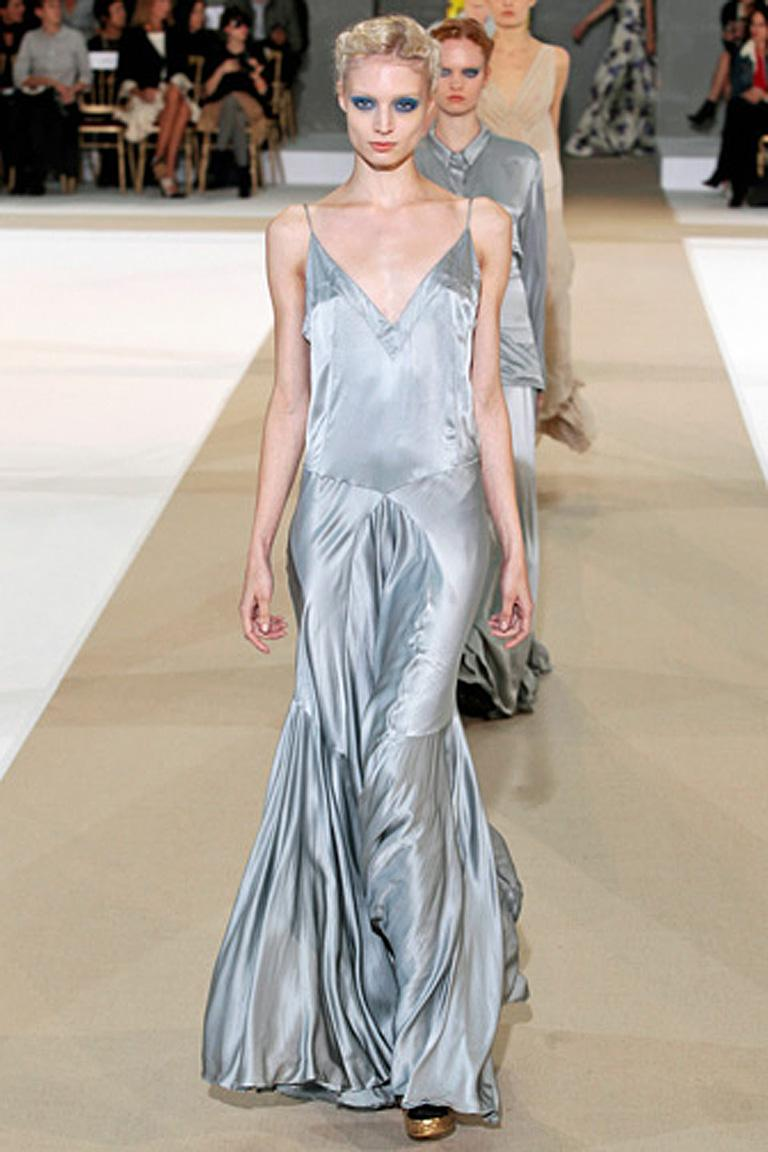 Women's Rochas Runway 30's Inspired Harlowesque Old Hollywood Satin Bias Cut Gown  NWT For Sale