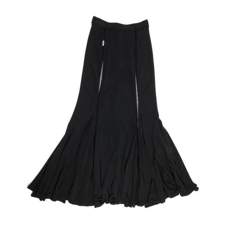 ROCHAS Vintage Long Skirt In Black Jersey Size 38FR