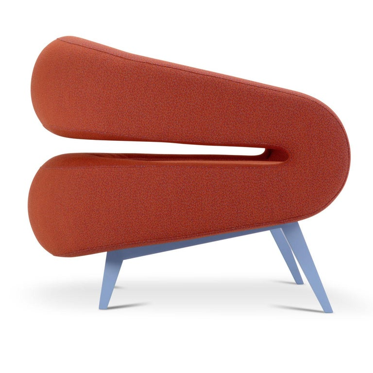 Italian Roche Armchair in Red by Daria Zinotnaya For Sale