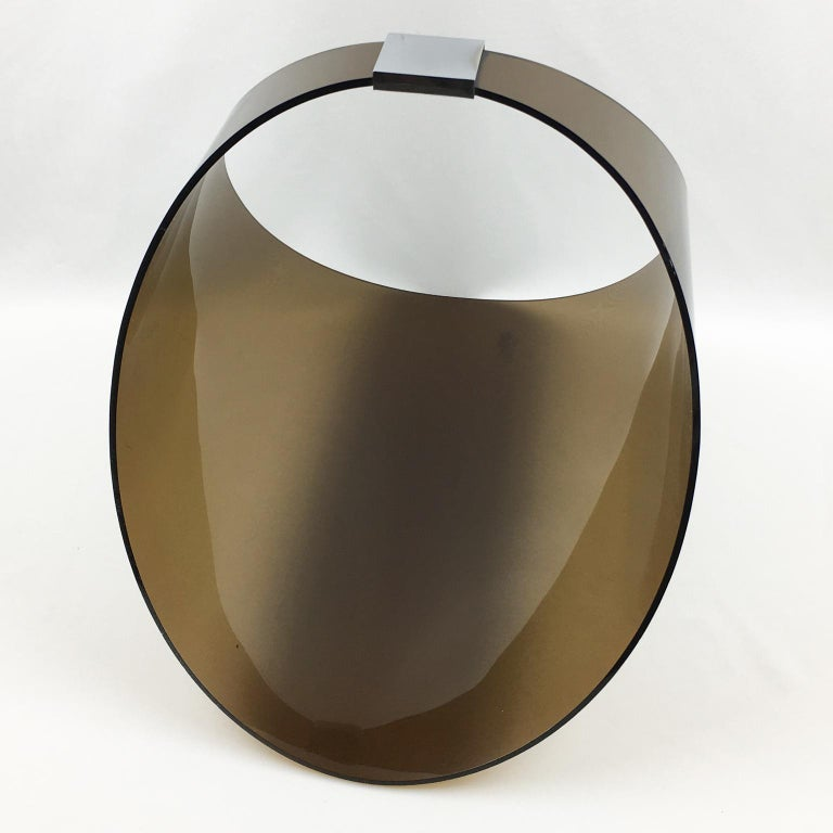 French Roche Bobois 1970s Smoked Lucite and Chrome Magazine Rack Stand For Sale