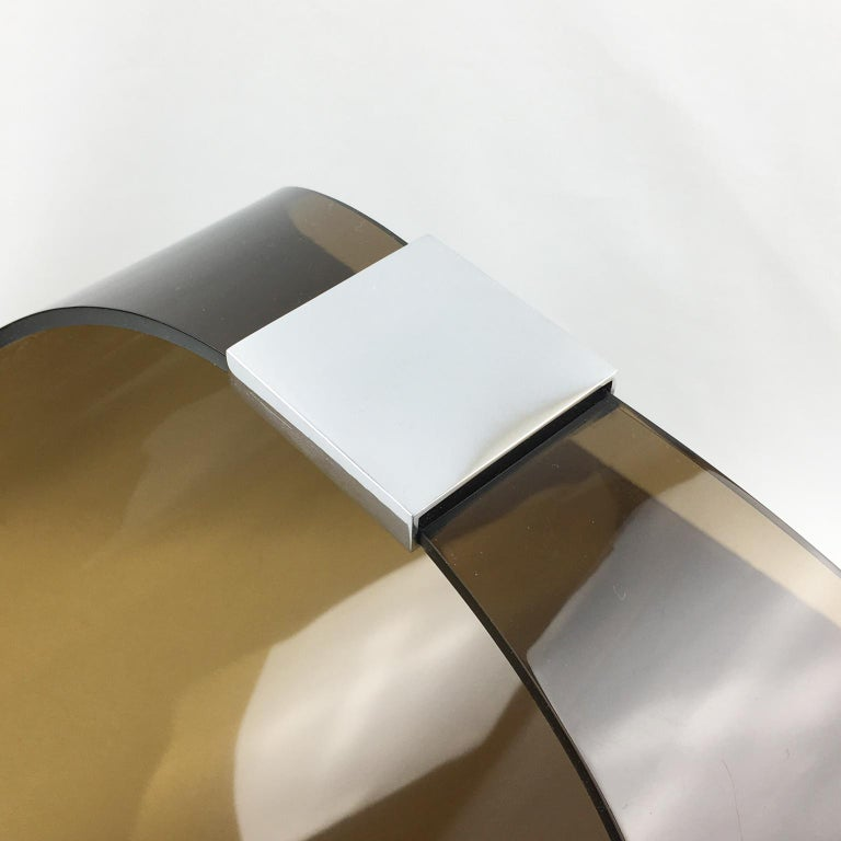 Roche Bobois 1970s Smoked Lucite and Chrome Magazine Rack Stand In Good Condition For Sale In Atlanta, GA