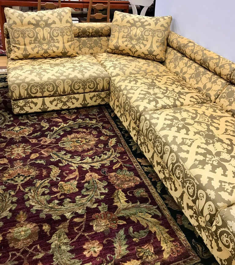 Large three-piece Roche Bobois modular sectional sofa with custom Kravet fabric. Purchased new ten year ago from Roche Bobois NYC, it has sat in a living room since then and was sat on very rarely. As it is configured in the photos, its dimensions