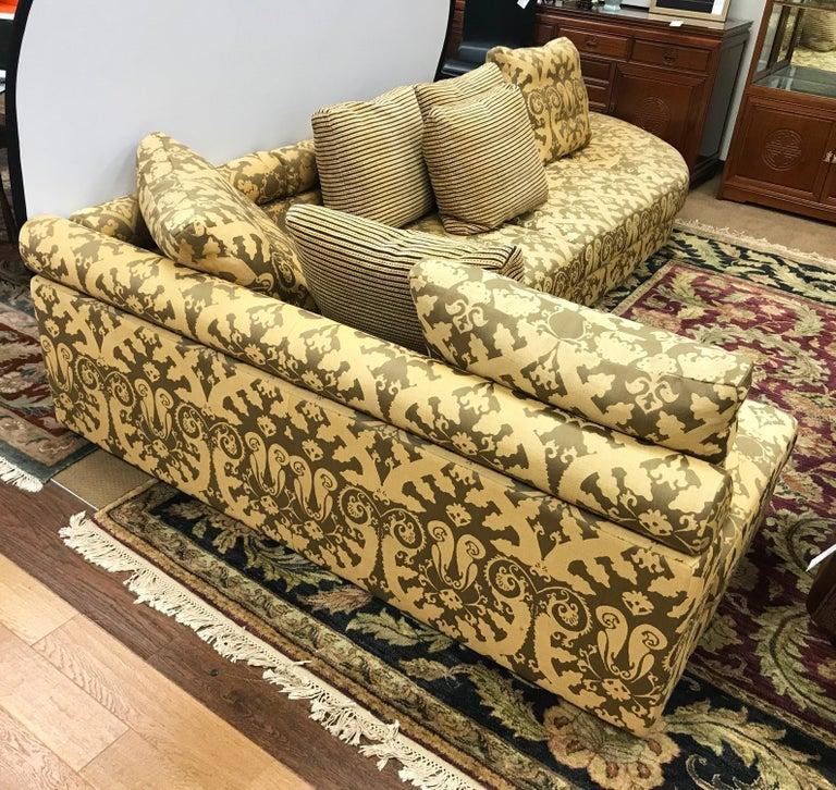 Mid-Century Modern Roche Bobois Architectural Modular Sofa Sectional 3-Piece Custom Kravet Fabric For Sale