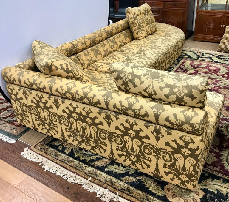 French Roche Bobois Architectural Modular Sofa Sectional 3-Piece Custom Kravet Fabric For Sale