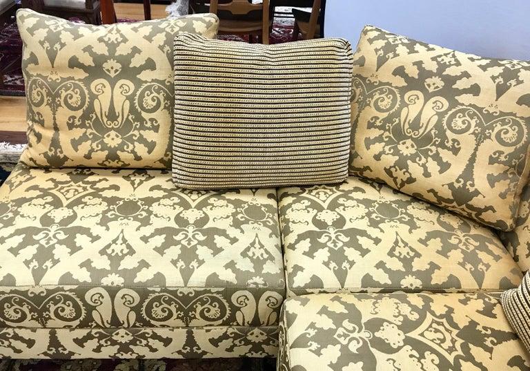 Roche Bobois Architectural Modular Sofa Sectional 3-Piece Custom Kravet Fabric For Sale 1