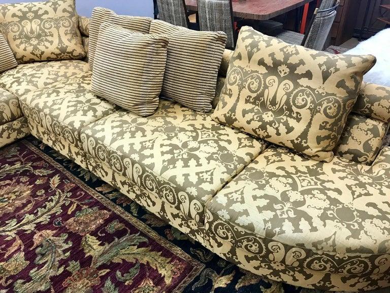 Roche Bobois Architectural Modular Sofa Sectional 3-Piece Custom Kravet Fabric For Sale 2