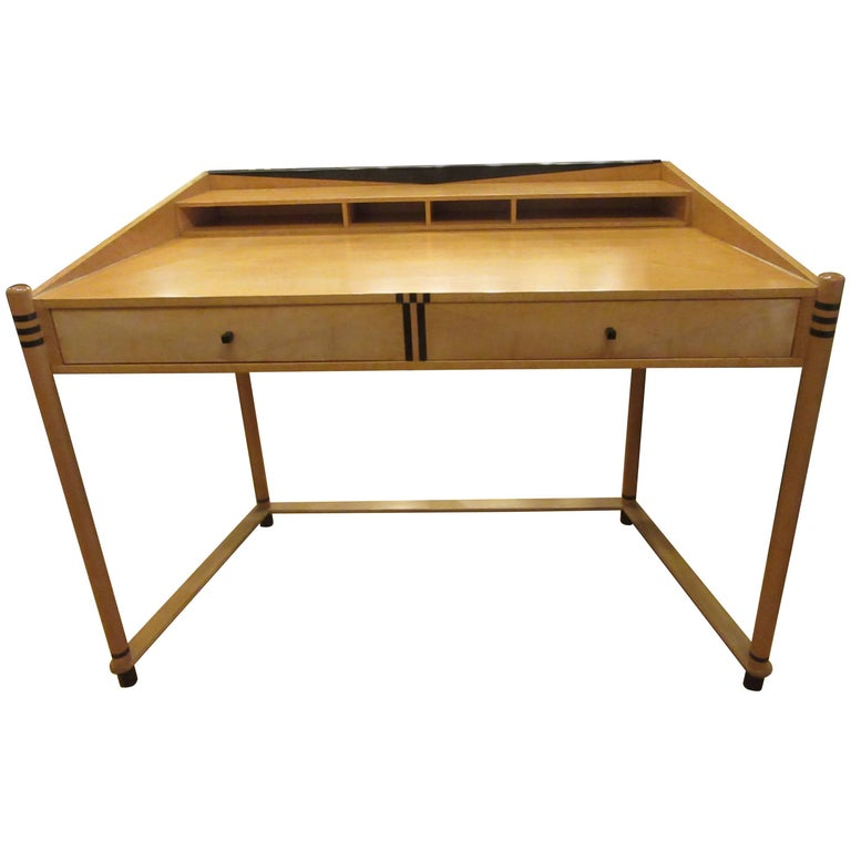 Roche Bobois Art Deco Design Maple Wood Desk For Sale