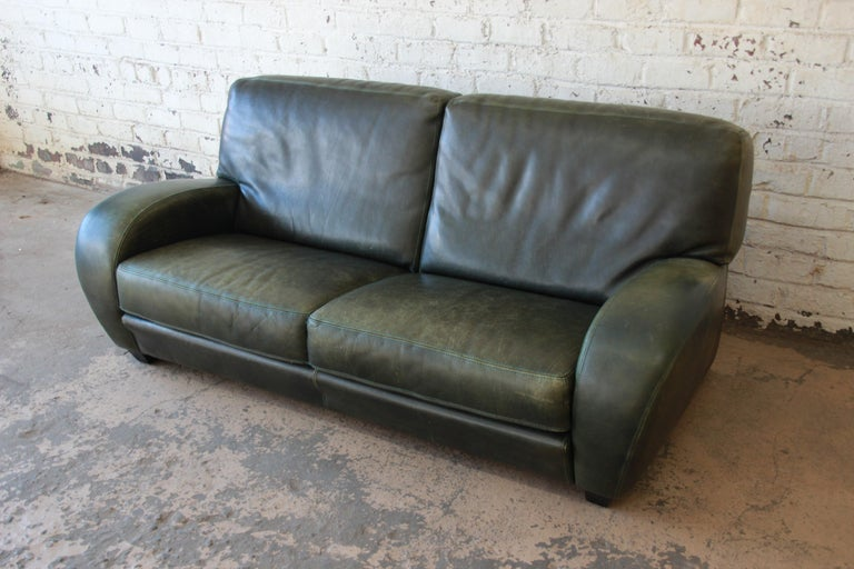 Roche Bobois Art Deco Green Leather Sofa