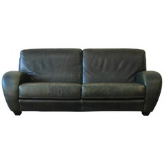 Rare Black Iron Oak And Olive Green Leather Sofa By Cleo